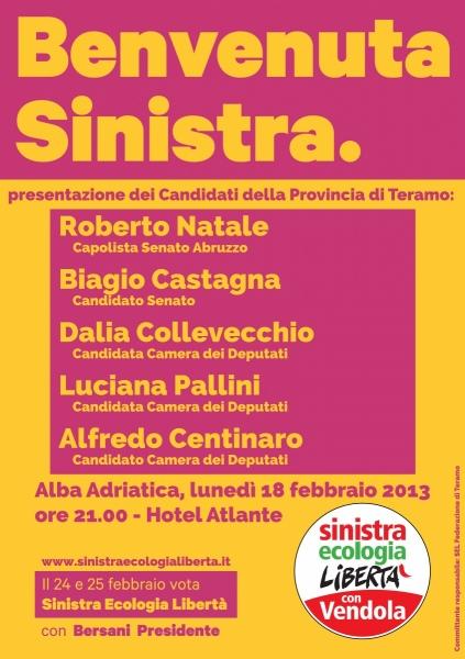 Sinistra Ecologia Libertà ad Alba Adriatica presenta i nomi dei candidati della provincia