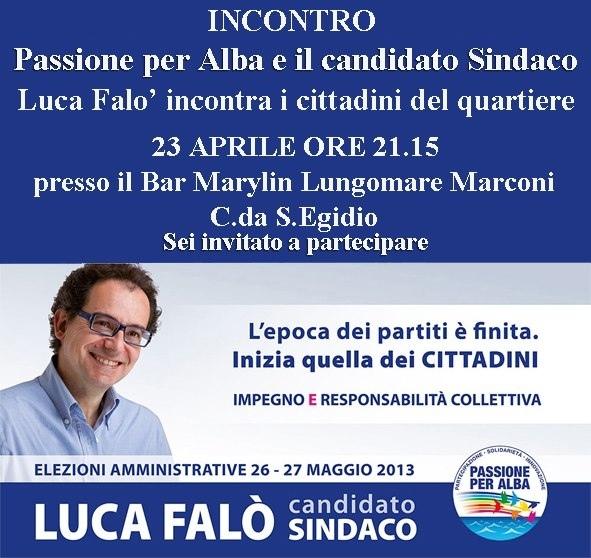 Incontro con il gruppo Passione per Alba nel quartiere Sant'Egidio martedì 23 aprile
